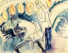 Drei Badende an Steinen (1913)