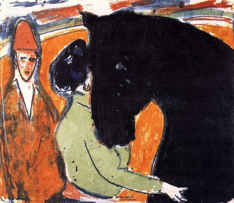 Rapphengst Reiterin und Clown (1909)
